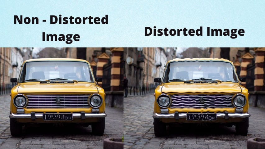 Non distorted image vs distorted image on screen