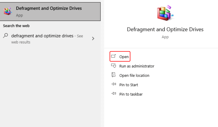 """Search """"Defragment and Optimize Drives"""" in the search bar and open the result"""