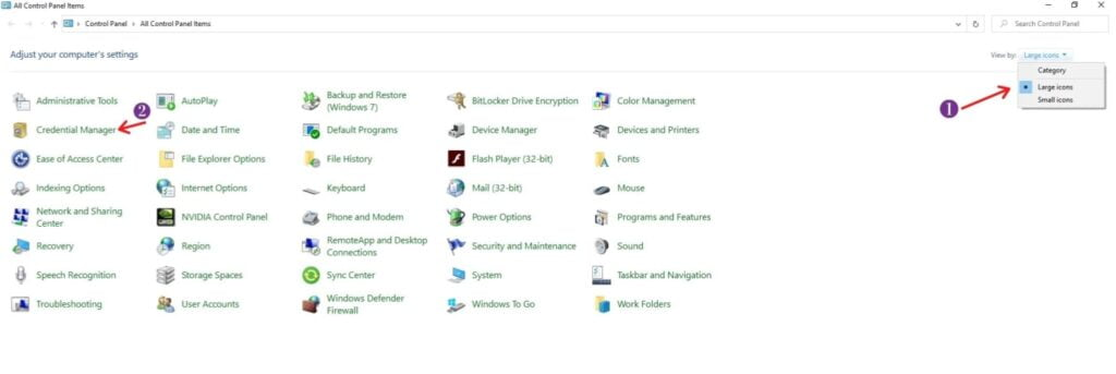 Step 2 to click on credential manager