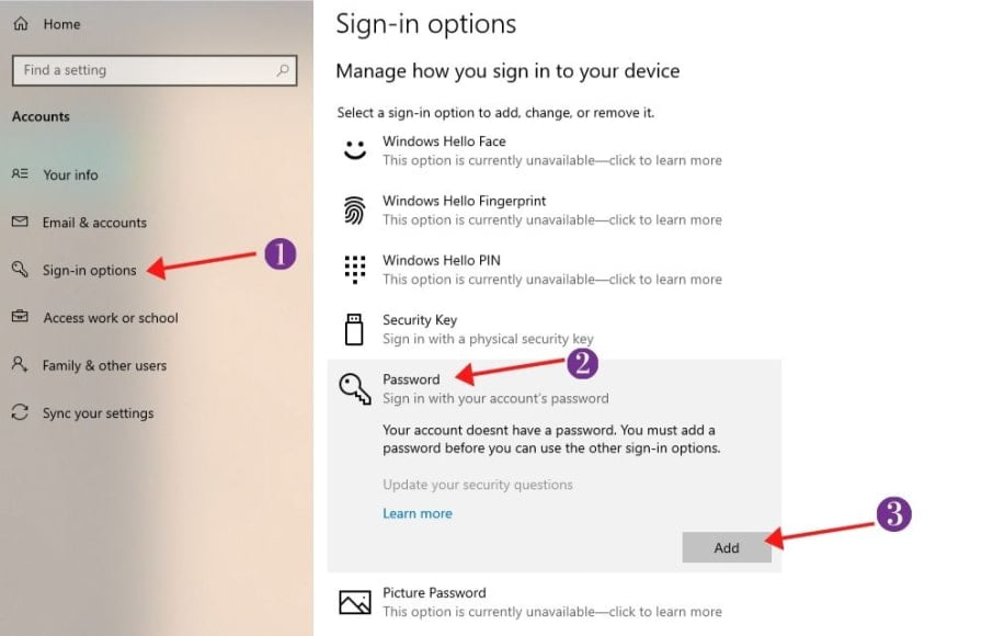 sign-in options section