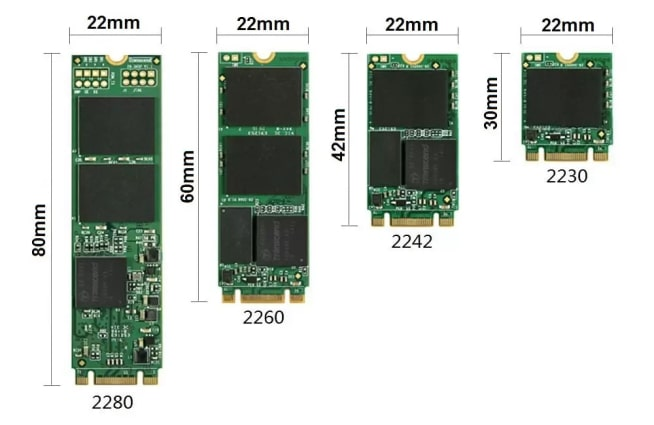 Different sizes of M.2 SATA SSDs